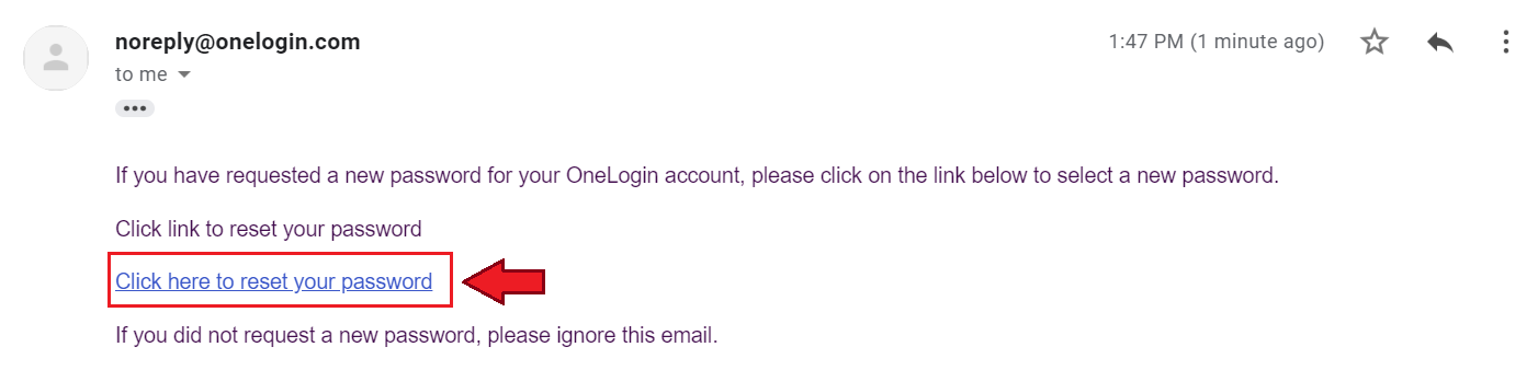 A snapshot of an email with an Password Reset Link hightlighted