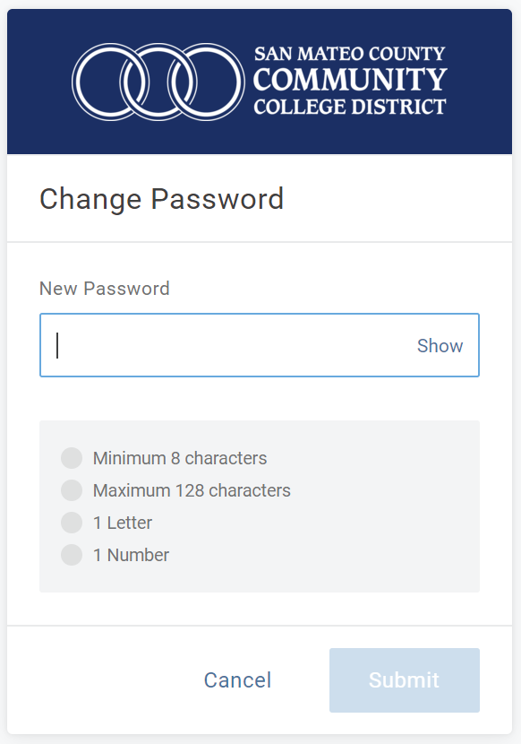 New password setting screen at mySMCCD login portal