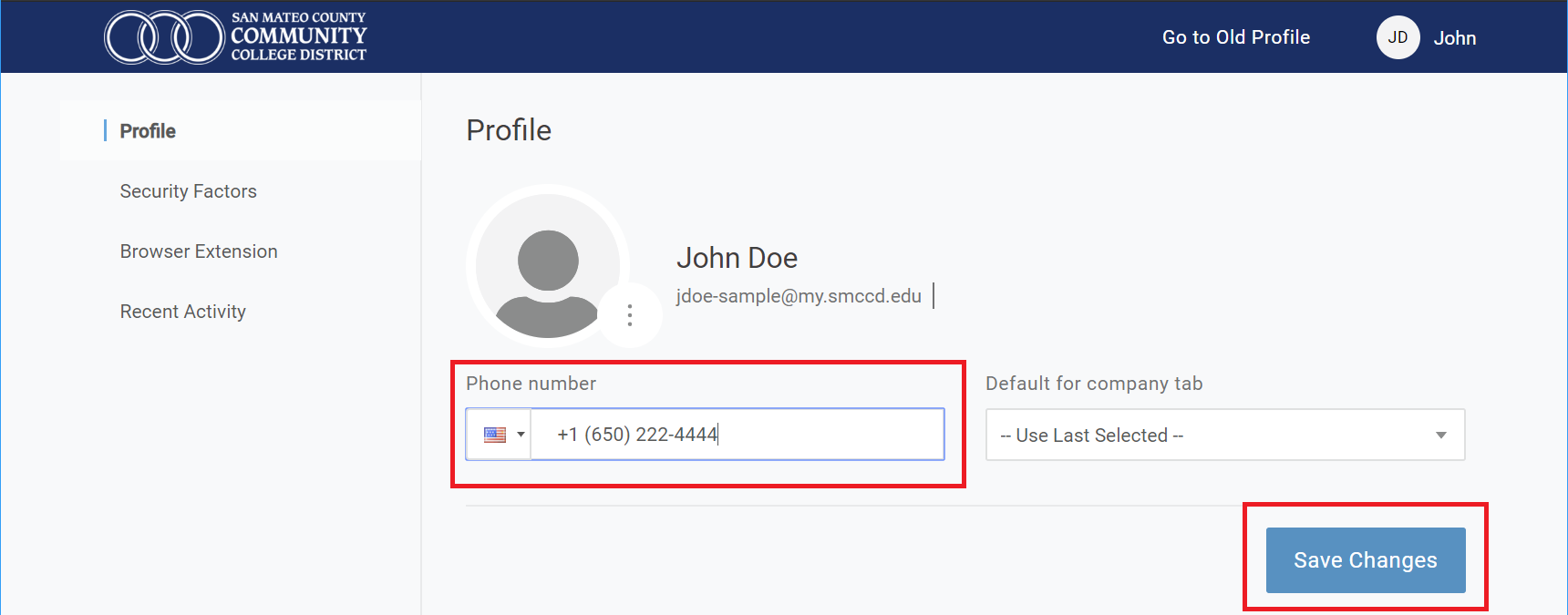 Update mobile number field and Save Changes button highlighted on user profile page