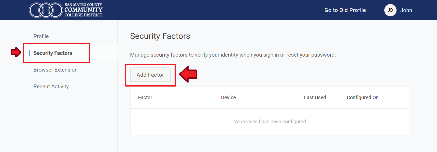 Security Factor side menu and Add Factor button hightlighted