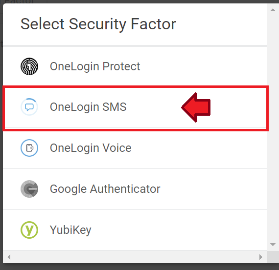 OneLogin SMS option is highlighted