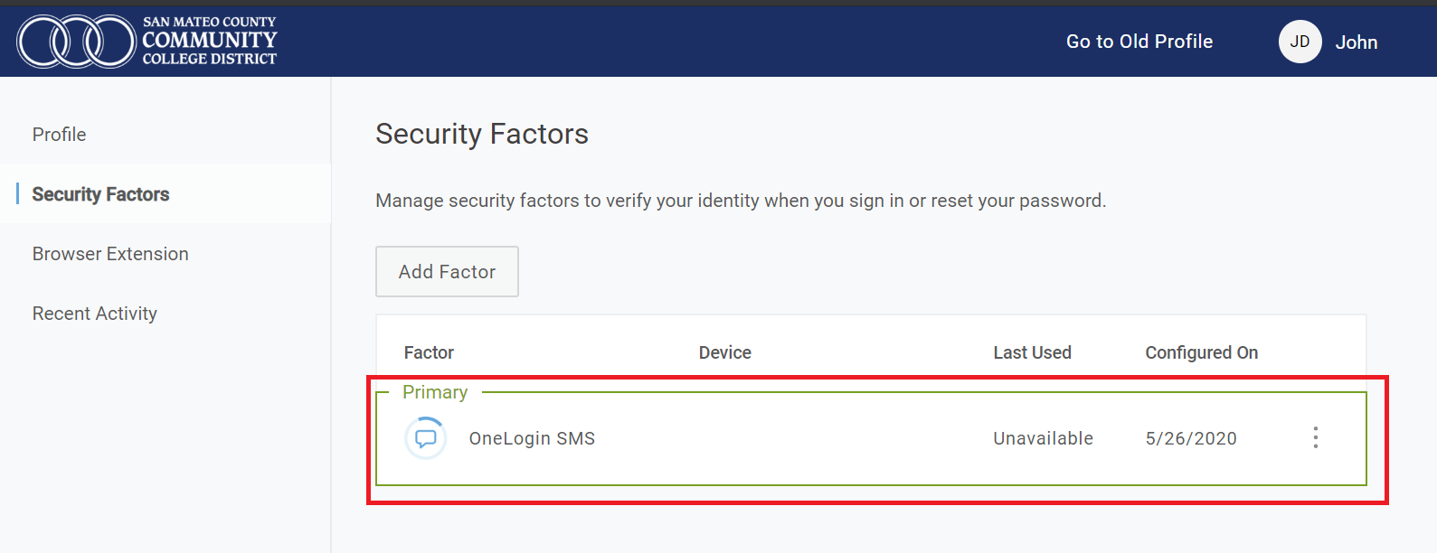 OneLogin SMS is highlighted as primary security factor