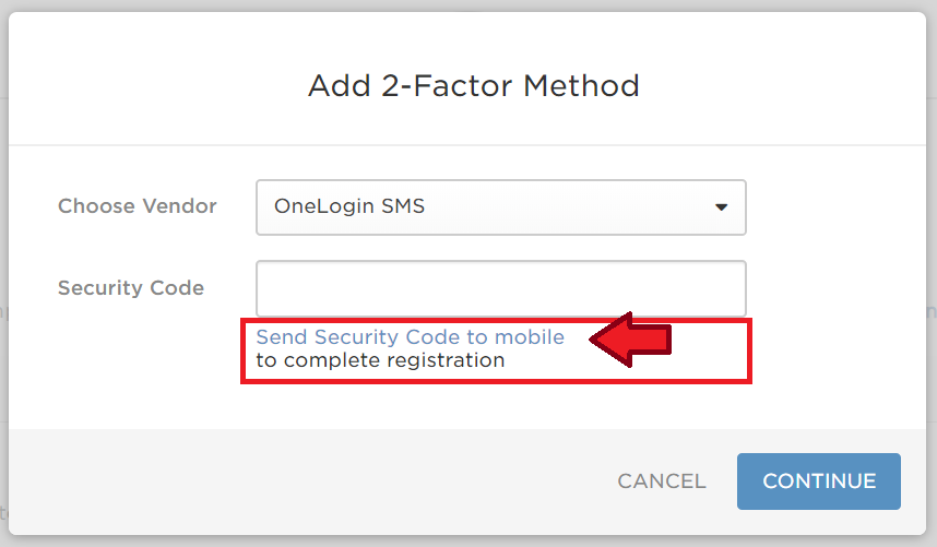 Send Secury Code to Mobile Link is highlighted