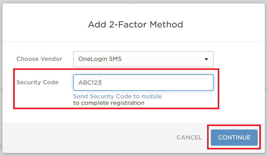 Security Code field and Continue button are highlighted