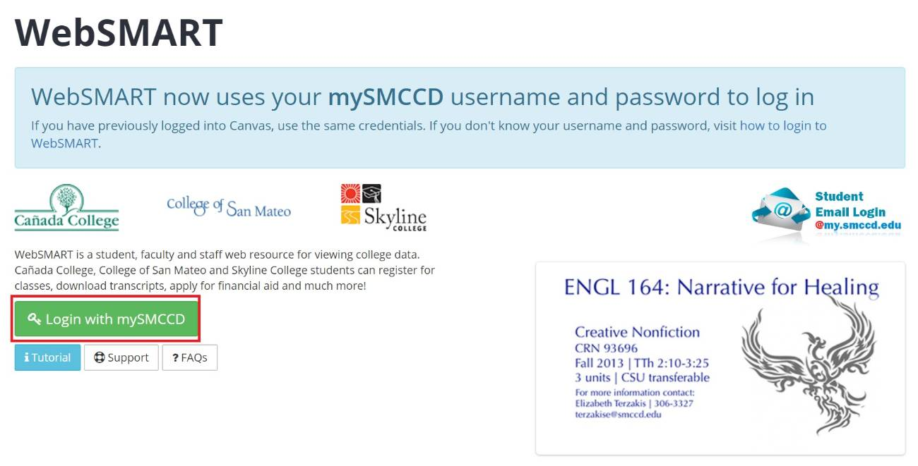 mySMCCD Login button highlighted on WebSMART page