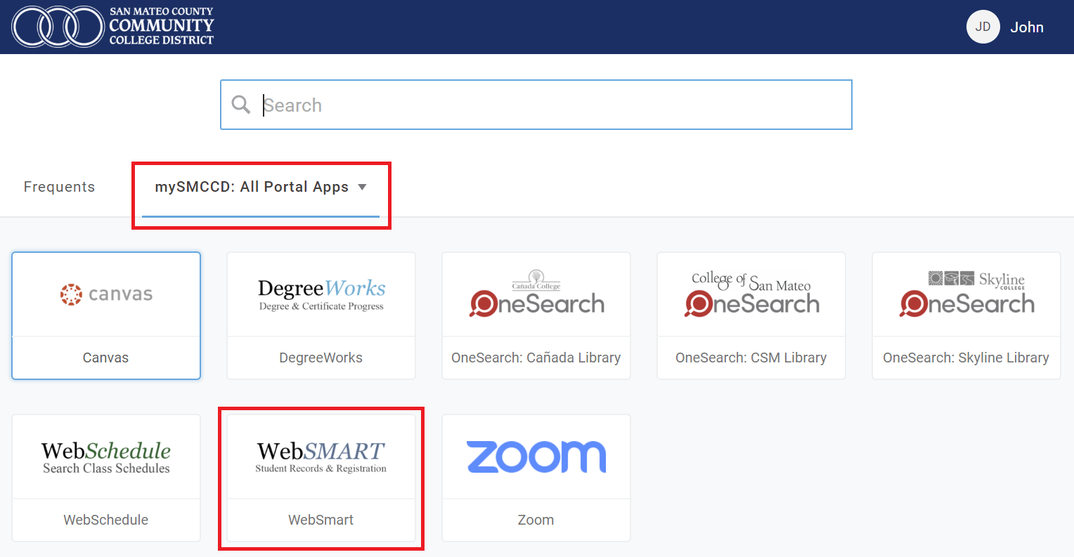 WebSMART icon button is highlighted under mySMCCD: Portal tab in the mySMCCD portal