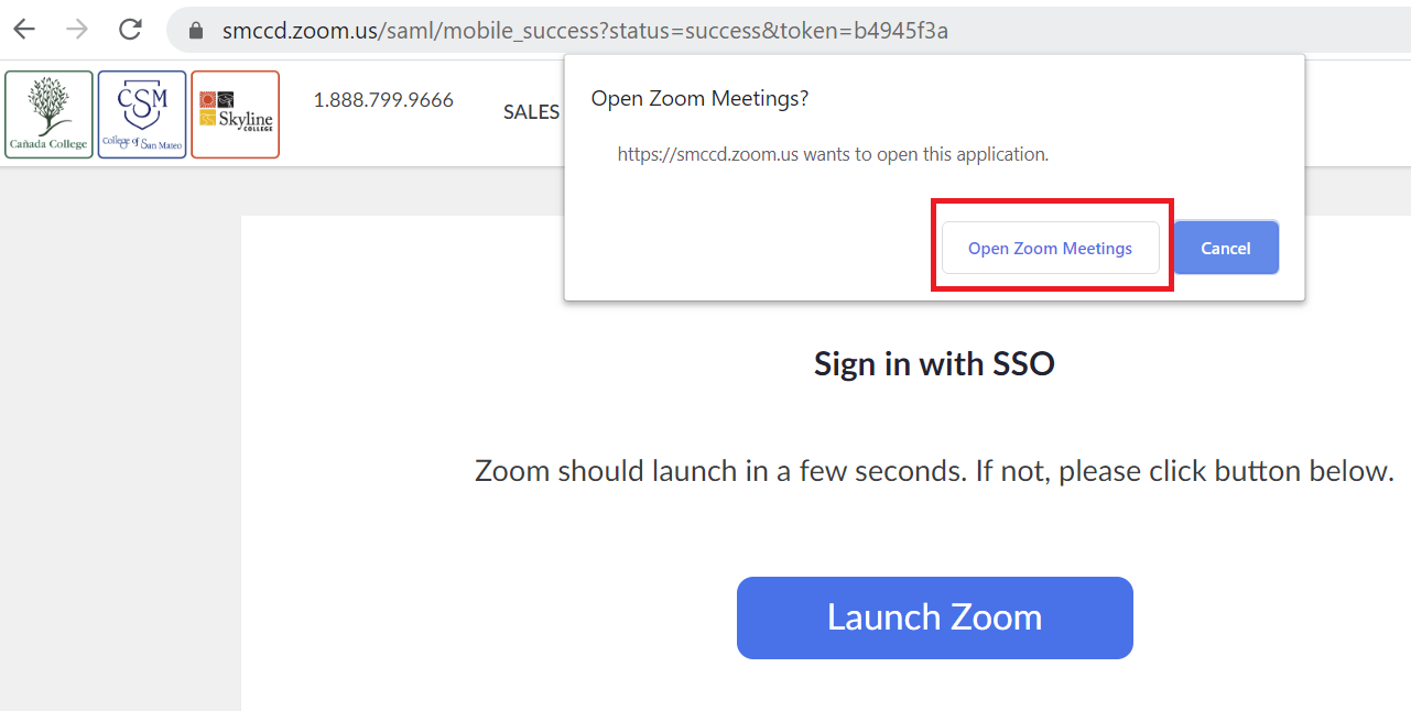 Open Zoom Meeting button highlighted on the Open Zoom Meeting? notification browser alert
