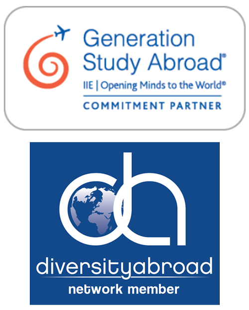 Logos for Generation Study Abroad, a commitment parntner and diversityabroad