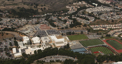 skyline campus - aerial shot